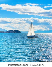 Yacht on a lake in the bright sunny day. Ohrid, Macedonia