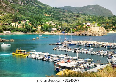 Yacht port of Paleokastritsa bay.Corfu