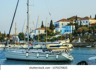 Yacht in the port of Skopelos town, Skopelos island, Sporades, Greece