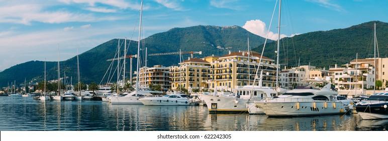 Yacht Porto Montenegro. Elite marina of Tivat in Montenegro