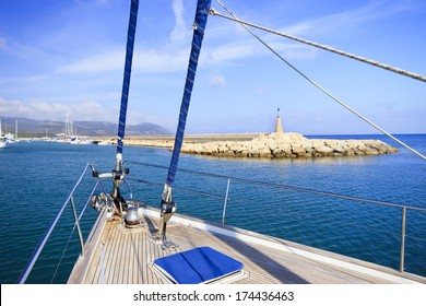 Yacht returns to the marina after trip in the sea