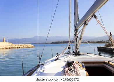 Yacht sailing away
