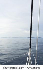 yacht sailing and blue sea