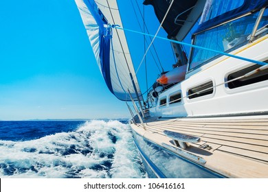 Yacht, Sailing boat in the sea
