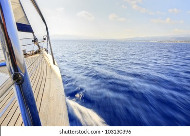 Yacht sailing fast with the wind