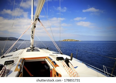 Yacht sailing to the island