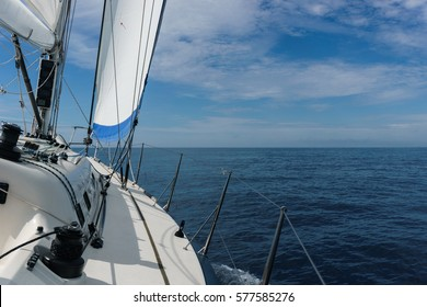 Yacht sailing in Mediterranean sea near Italy