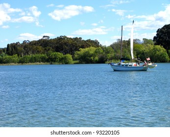 Yacht sailing on Lake Burleigh Griffin, Canberra, Australia