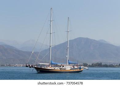 Yacht Sailing on Open Sea