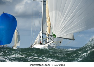 yacht sailing in the swell at regatta