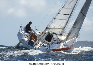yacht and skipper sailing at competition