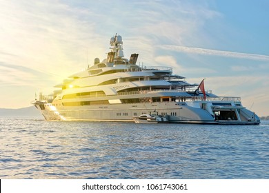 Yacht and sun rays. Yachting