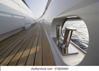 Yacht teak deck detail.