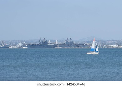 Yacht and Two Warships in San Diego