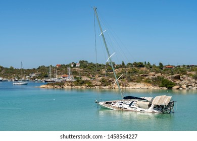 The yacht  was wrecked in the harbour, Greece