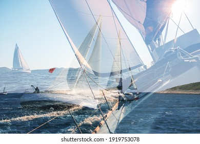Yachting double exposure. Sailing in the wind through the waves, yachts at sailing regatta. Multi exposure