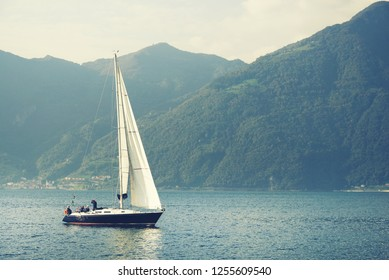 Yachting on Iseo Lake, Italy, Europe