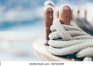 yachting rope on wooden pen