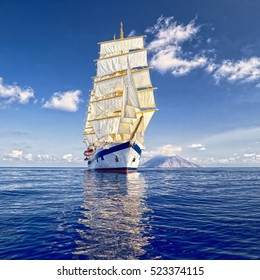 Yachting. Sailing. Beautiful sailing ship. Cruises and luxury