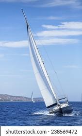 Yachting. Sailing in the Sea. Cruising yacht. Luxury yachts.
