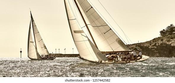 Yachting sport. Sailing yacht race