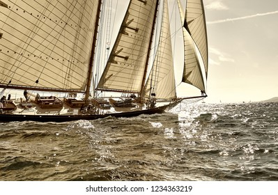 Yachting sport. Sailing yacht under full sail at the regatta
