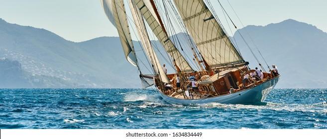 Yachting sport. Sailing yacht under full sail at the regatta