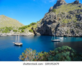 Yachts anchored in the beautiful Bay of Mallorca on a Sunny autumn day waiting for passengers.