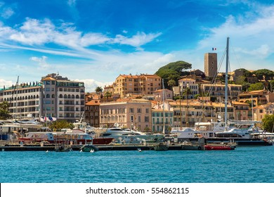 Yachts anchored in port in Cannes in a beautiful summer day, France