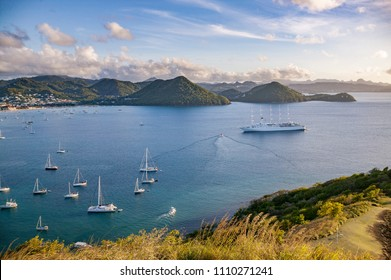 Yachts anchoring in famous Rodney Bay, Saint Lucia, West indies