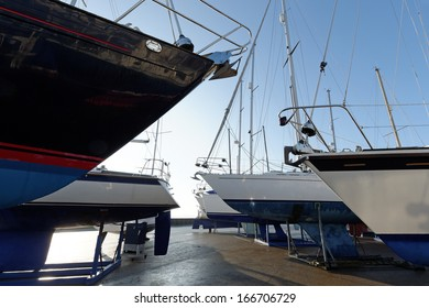 Yachts ashore in a boatyard for the winter in the UK