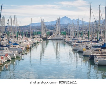 Lot of yachts in bay of Hondarribia, Basque Country, Spain