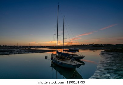 Yachts at Bembridge Harbour, Isle of Wight, England at Sunset