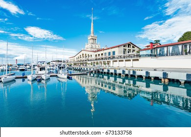 Yachts and boats anchored in the port of Sochi. Russia.