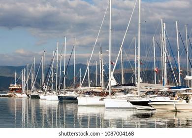 Yachts and boats in Fethiye Ece Marina, Mugla, Turkey