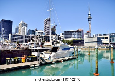 Yachts / Boats in Harbour and Skyline of Auckland, New Zealand