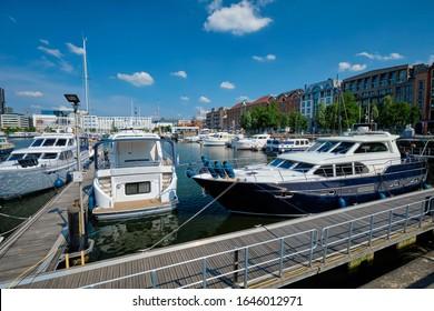 Yachts and boats moored in Willemdock in Antwerp. View of Bonapartedok harbor. Antwerpen, Belgium, Europe, Flanders