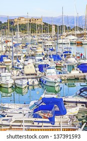 Yachts and boats in the port of Antibes, Cote d'Azur