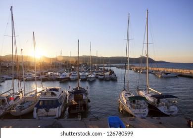 Yachts in busy marina