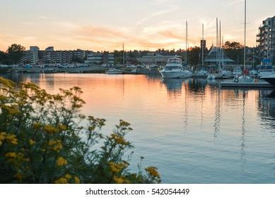 Yachts in a city bay, Thunder Bay, Ontario