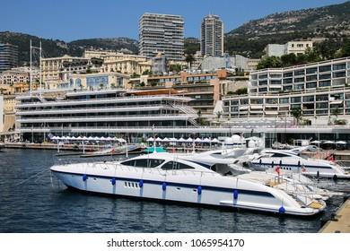 Yachts docked at Port Hercules in La Condamine ward of Monaco. Port Hercules is the only deep-water port in Monaco