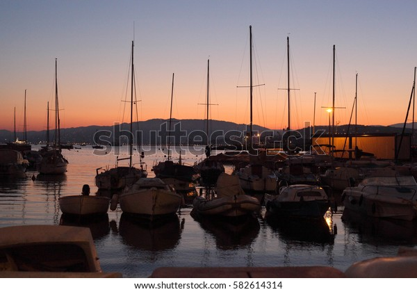 yachts in the evening lights