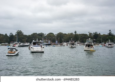 Yachts in Farm Cove and concert goers at The Plot in Sydney,Australia/Parramatta Park Concert/SYDNEY,NSW,AUSTRALIA-NOVEMBER 19,2016:The Plot concert at Parramatta Park with yachts in Sydney, Australia