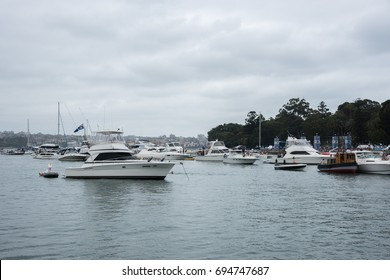 Yachts in Farm Cove with people for concert in Sydney,Australia/Concert Viewers at Farm Cove/SYDNEY,NSW,AUSTRALIA-NOVEMBER 19,2016: The Plot concert goers on yachts in Farm Cove in Sydney,Australia