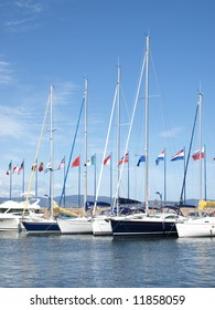 yachts in french riviera harbor of Hyeres