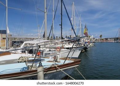 Yachts in harbour in Barcelona in Spain