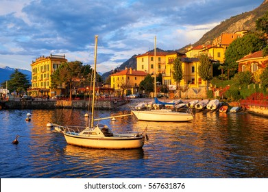 Yachts in the harbour of Varenna old town on Lake Como, Milan, Italy, on sunset