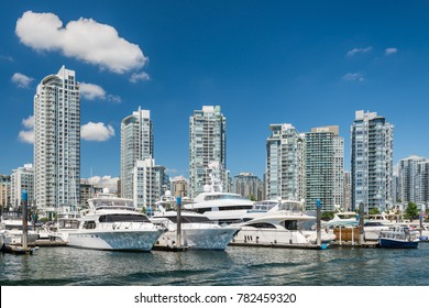The yachts and highrises of Yaletown in Vancouver, Canada.