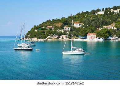 Yachts in Lakka harbour on the Greek island of Paxos in high summer