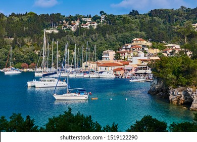 Yachts in Lakka harbour on Paxos in Greece